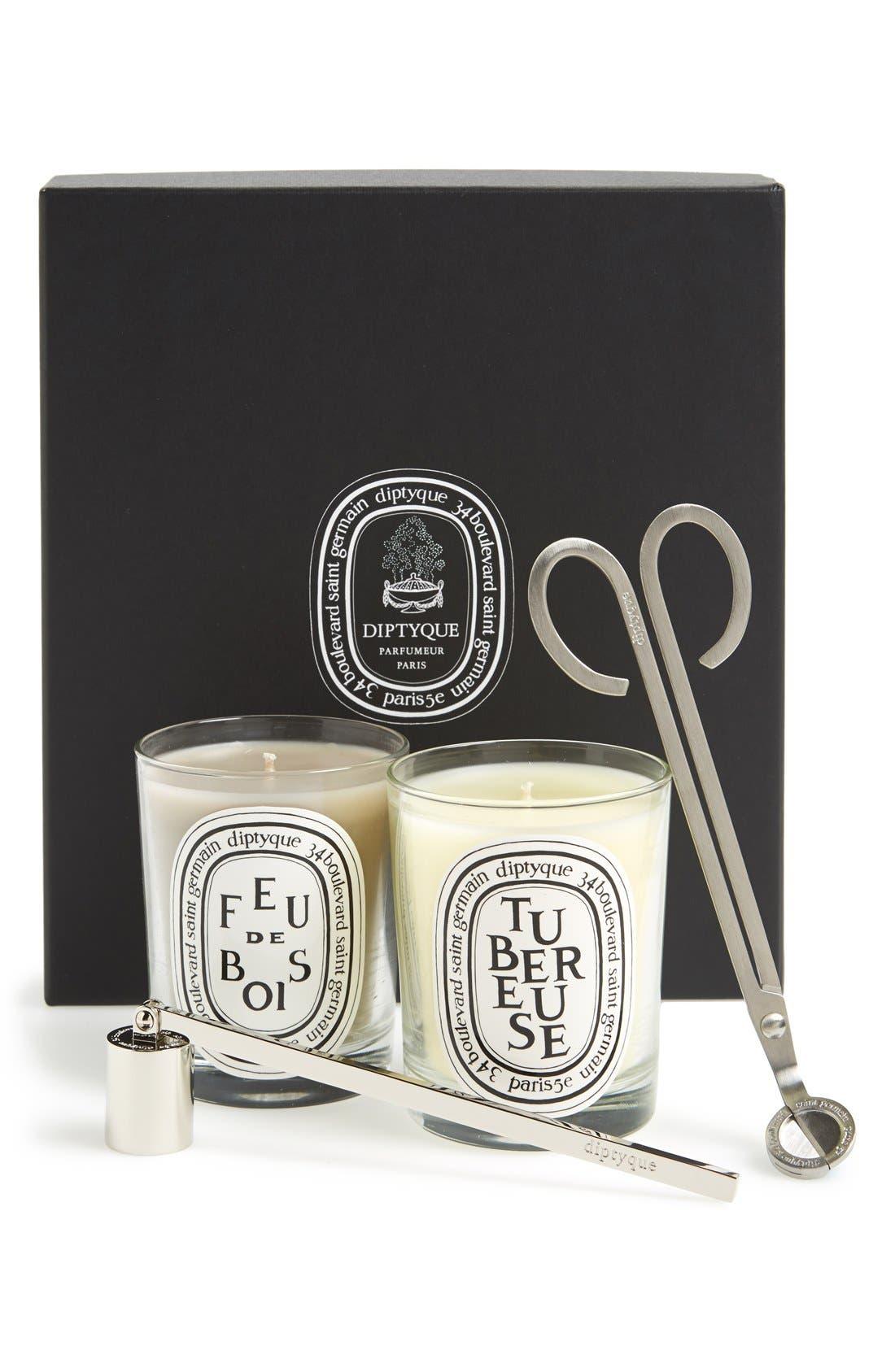 Alternate Image 1 Selected - diptyque 'Tubereuse & Feu de Bois' Candle Set ($196 Value)