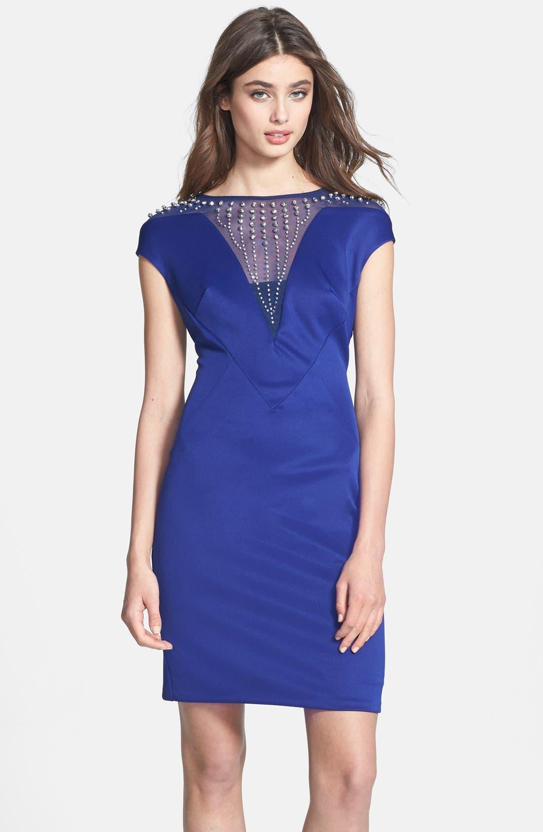 Alternate Image 1 Selected - Alexia Admor Embellished Yoke Ponte Sheath Dress