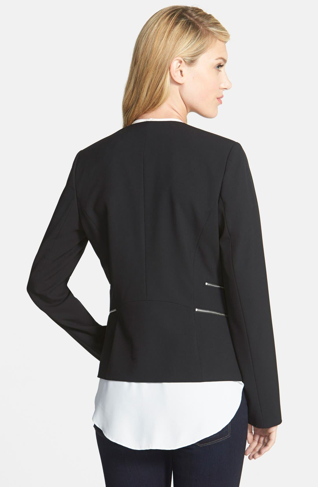 Alternate Image 2  - Vince Camuto Collarless Double Zip Pocket Jacket