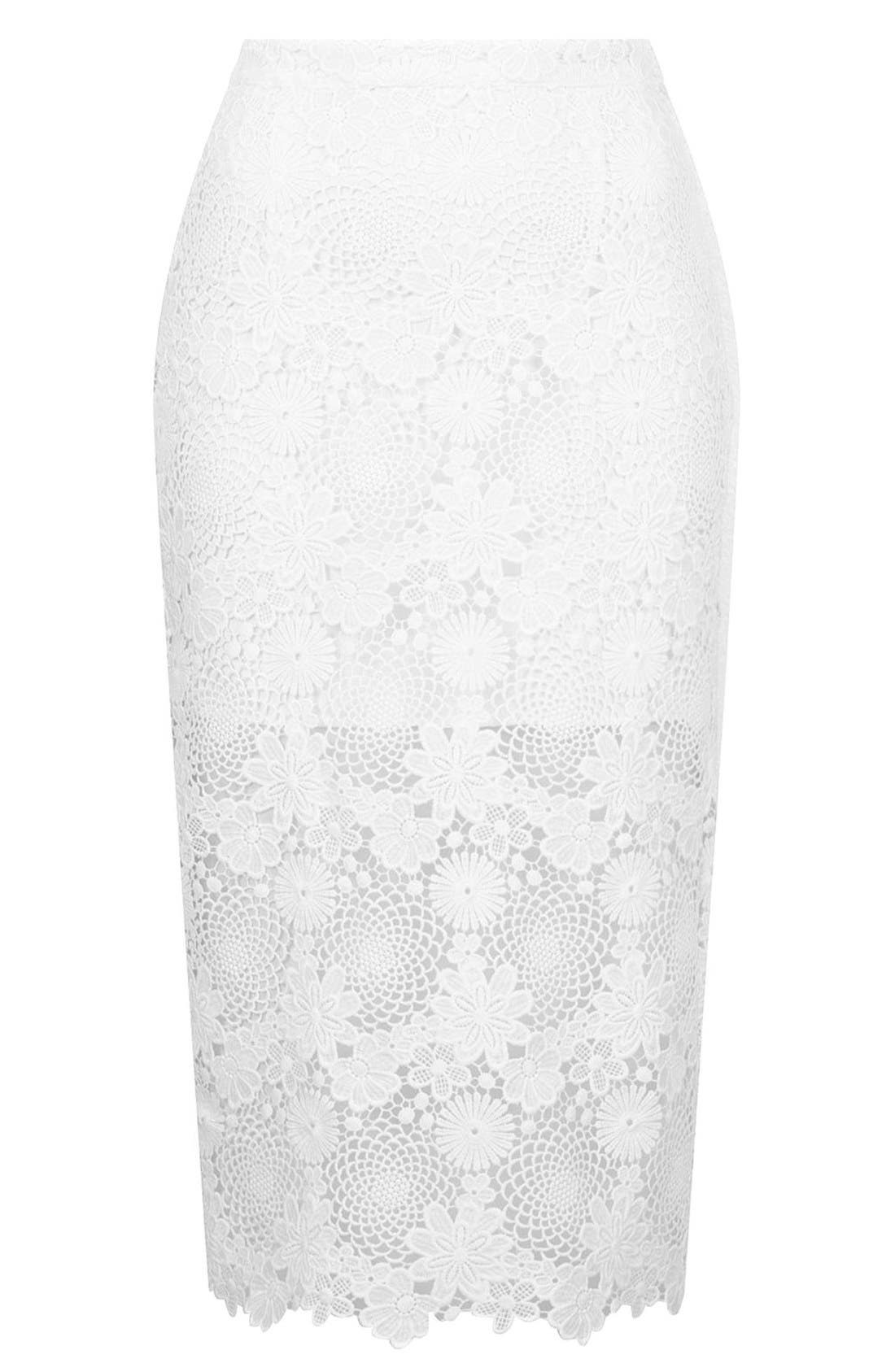 Alternate Image 3  - Topshop Lace Pencil Skirt