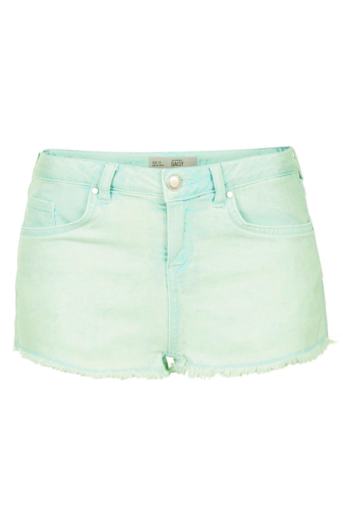 Alternate Image 3  - Topshop Moto 'Daisy' Denim Cutoff Shorts (Mint)