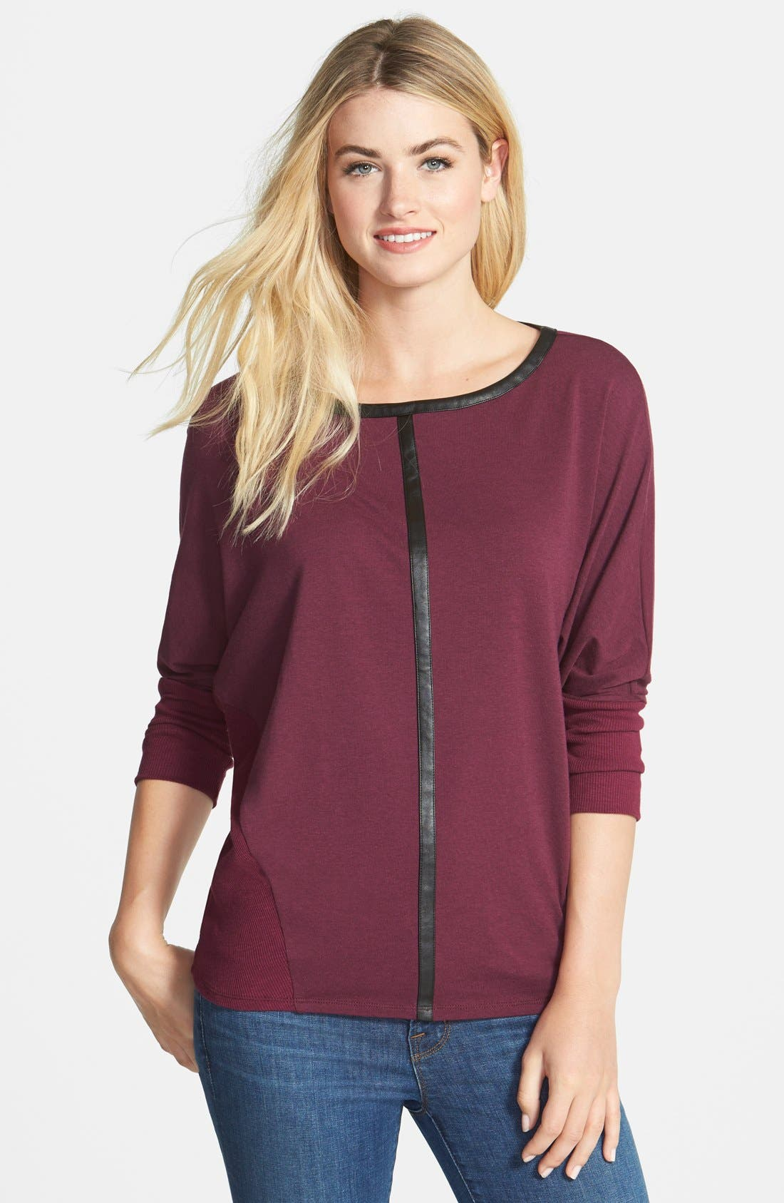 Main Image - Two by Vince Camuto 'Saturday' Faux Leather Trim Jersey Shirt