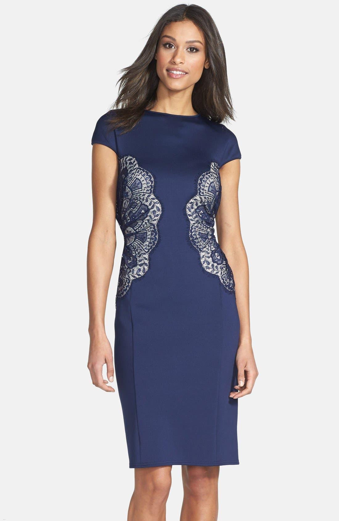 Alternate Image 1 Selected - Tadashi Shoji Lace Inset Jersey Dress