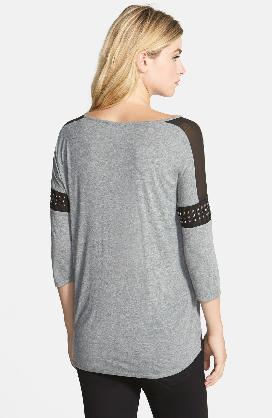 Alternate Image 2  - Two by Vince Camuto Studded Sleeve Chiffon Inset  Top
