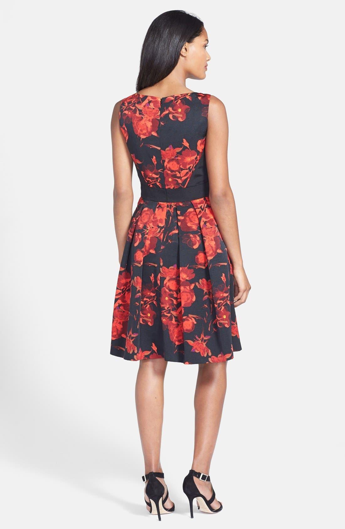 Alternate Image 2  - Taylor Dresses Floral Print Fit & Flare Dress (Regular & Petite)