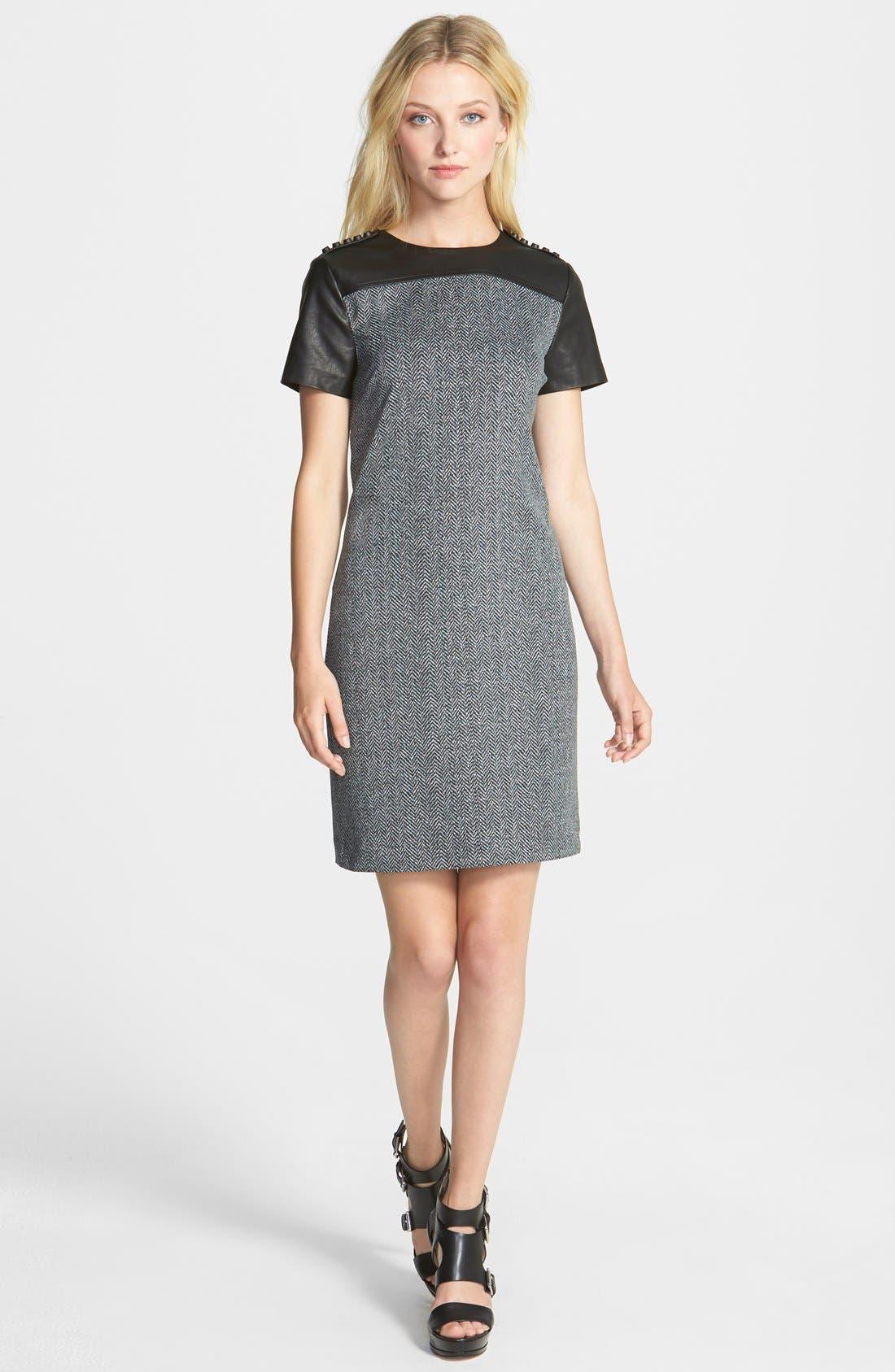 Main Image - MICHAEL Michael Kors Print Ponte & Faux Leather Dress