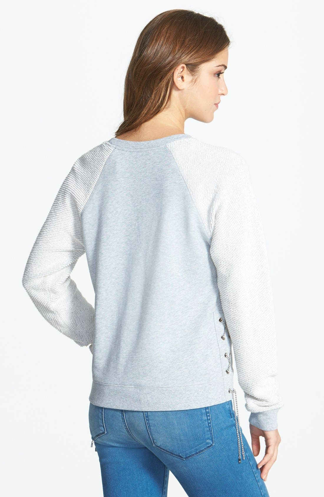 Alternate Image 2  - MICHAEL Michael Kors Side Laced Contrast Sleeve Pullover