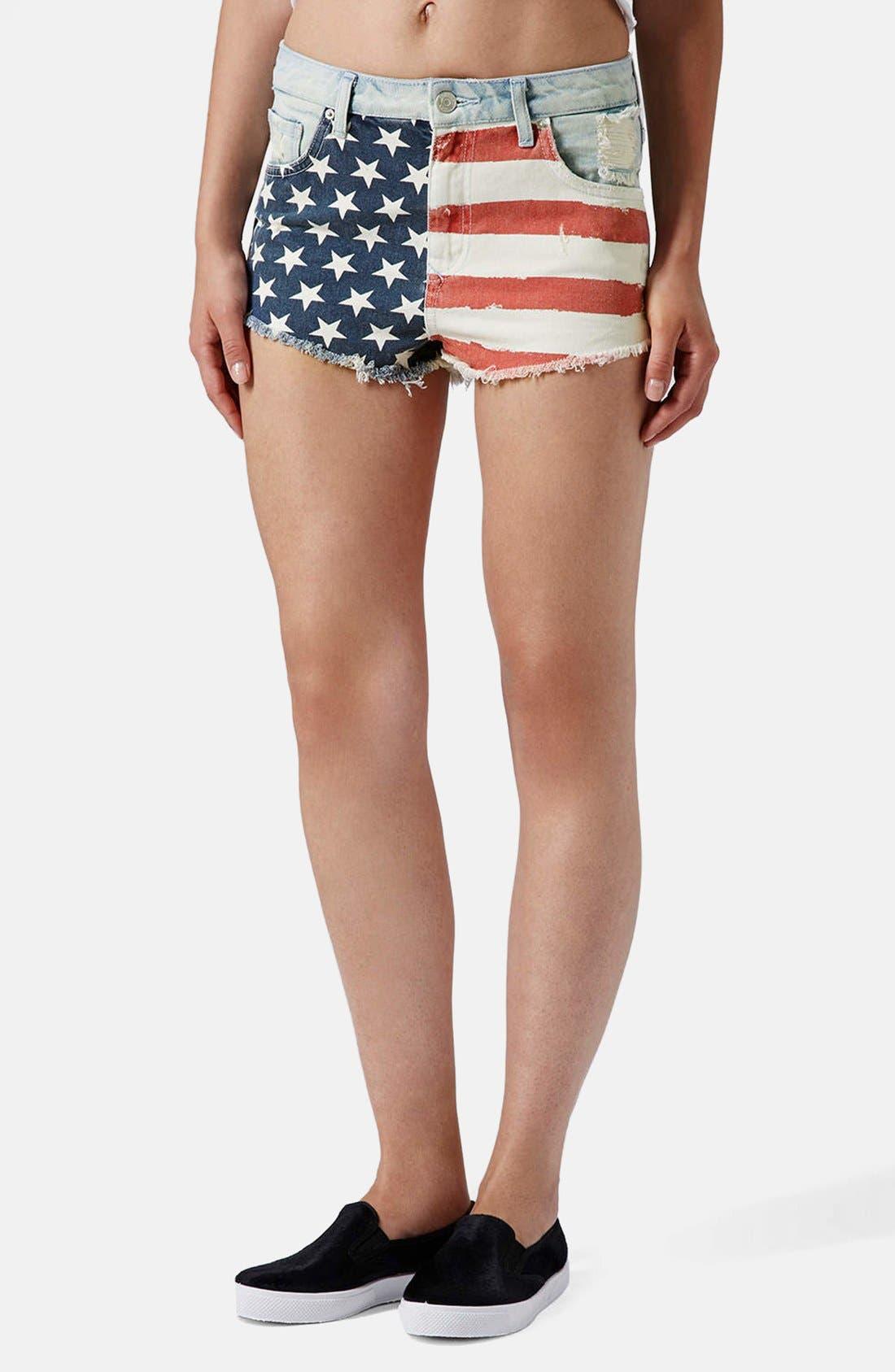 Main Image - Topshop Flag Front Shorts