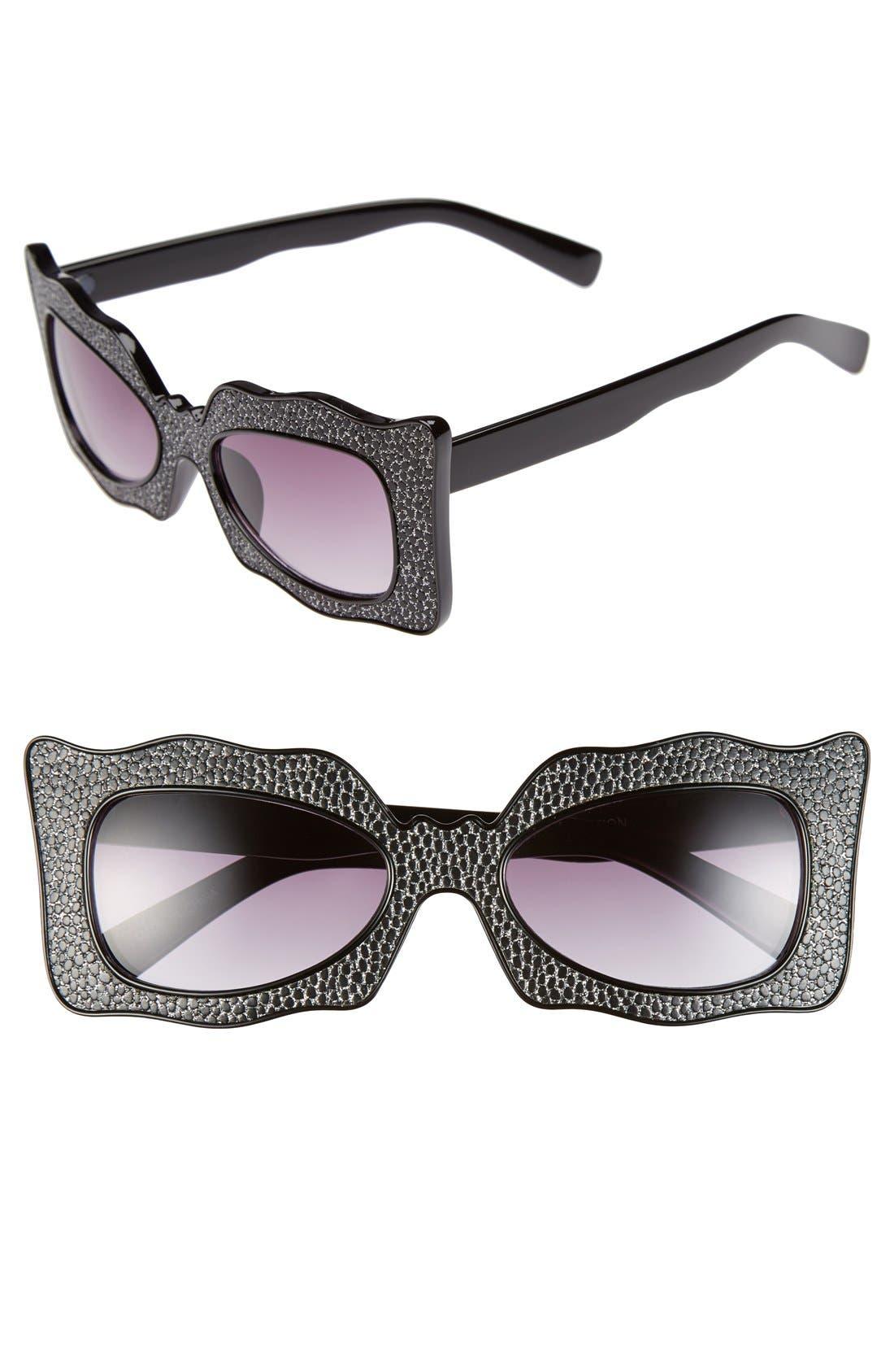 Main Image - FE NY 55mm Curvy Rectangle Glitter Sunglasses