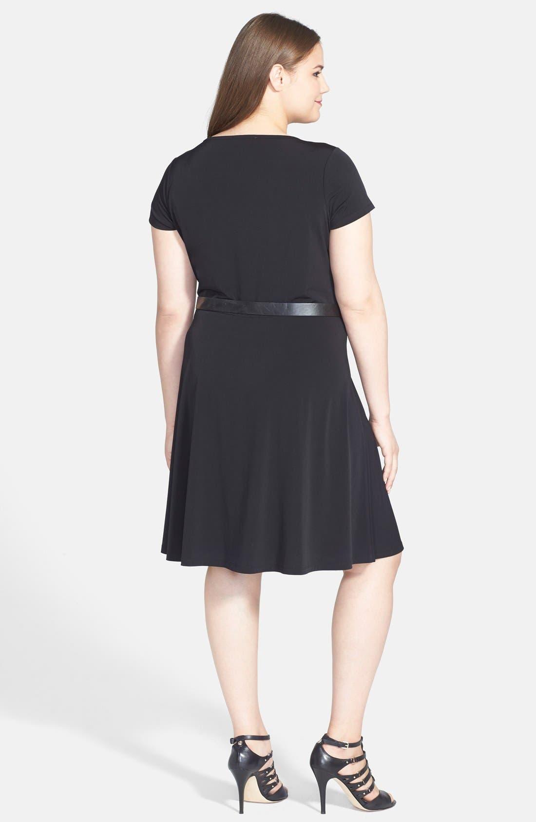 Alternate Image 2  - MICHAEL Michael Kors Cap Sleeve Belted Fit & Flare Dress (Plus Size)