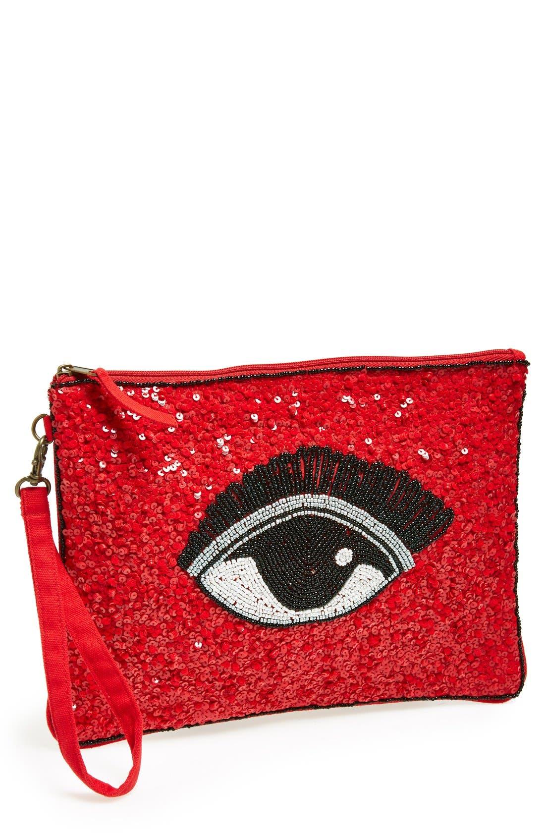 Alternate Image 1 Selected - Nila Anthony Beaded Eye Clutch
