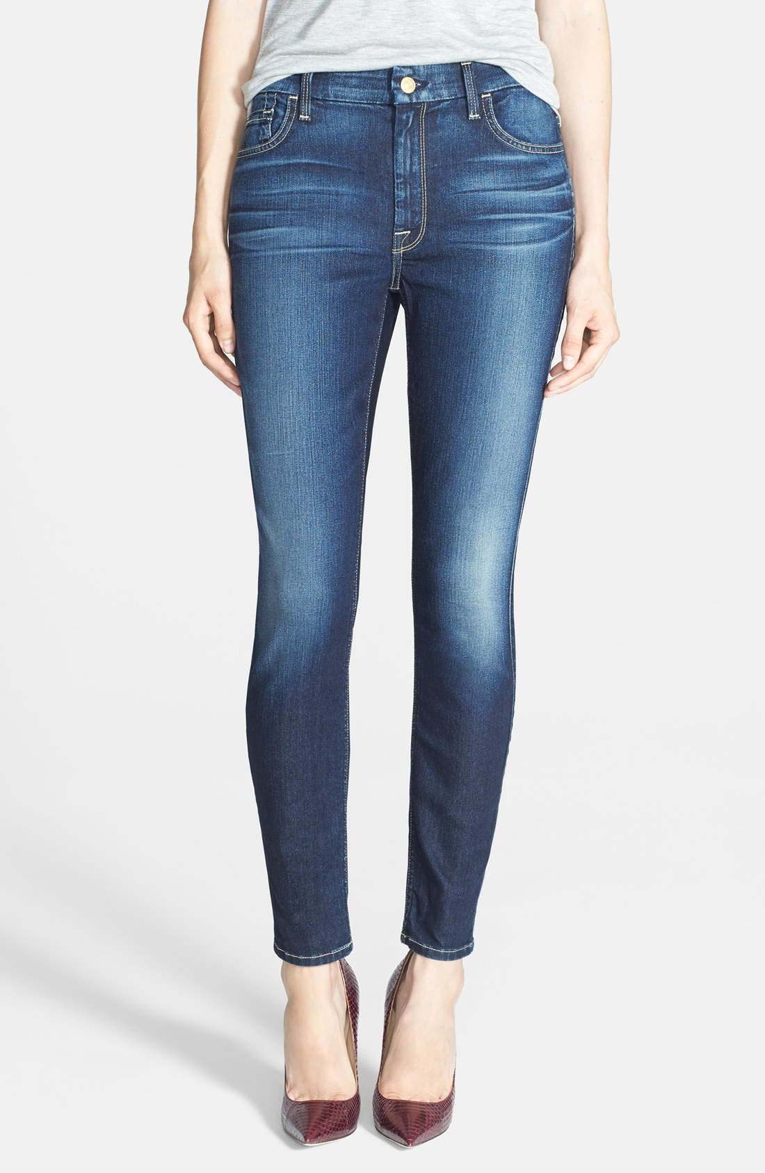 Main Image - 7 For All Mankind® High Rise Ankle Skinny Jeans (Riche Touch Medium Dark)