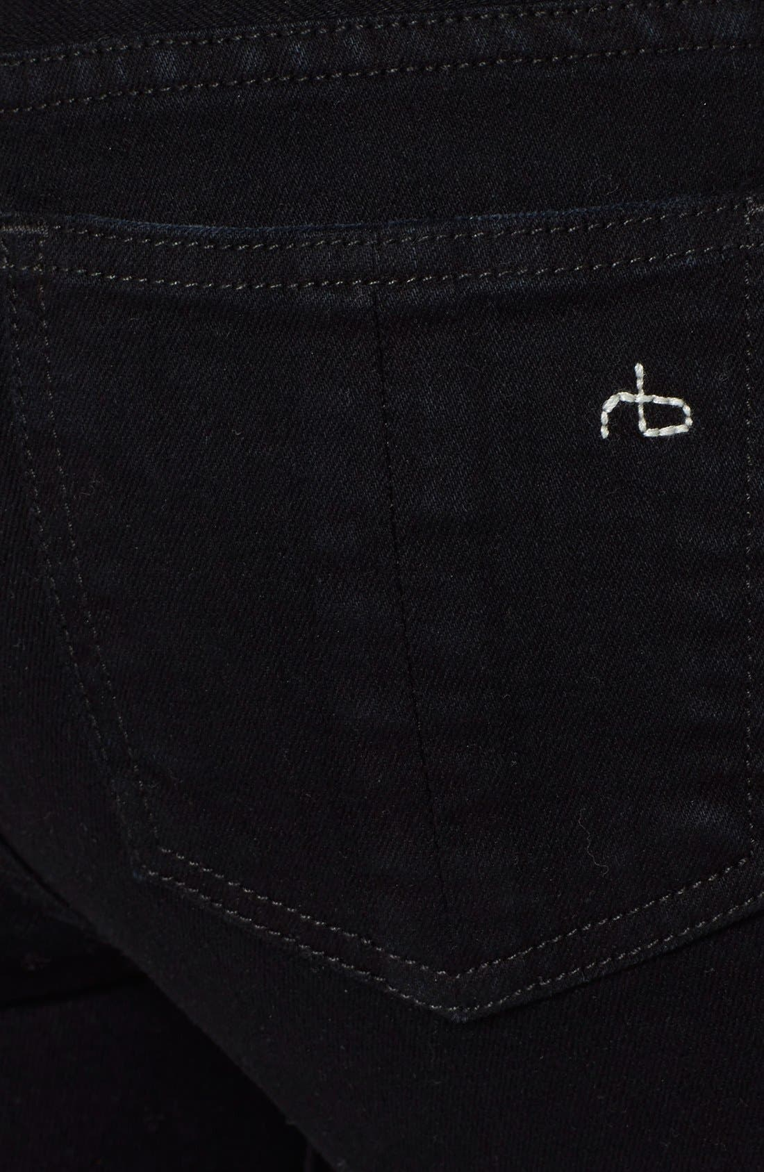 Alternate Image 3  - rag & bone/JEAN 'The Skinny' Stretch Jeans (Coal With Holes)
