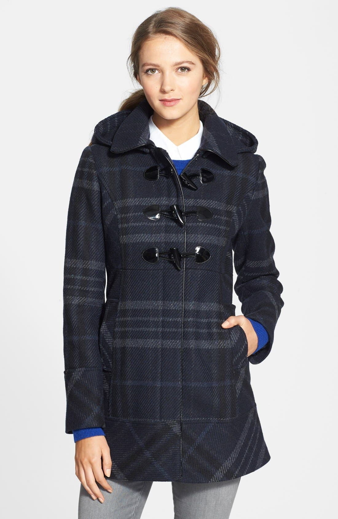 Alternate Image 1 Selected - GUESS Plaid Toggle Front Coat with Removable Hood (Regular & Petite)