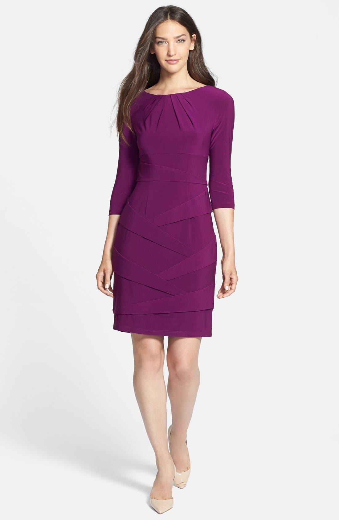 Alternate Image 3  - Adrianna Papell Pleated Jersey Sheath Dress