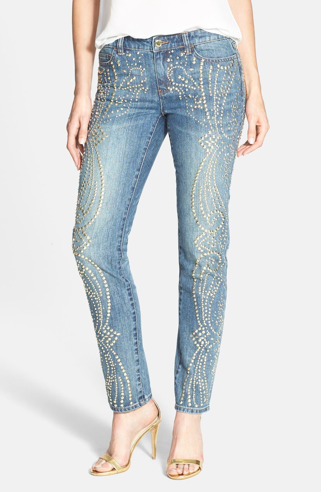 MICHAEL MICHAEL KORS Studded Ankle Boyfriend Jeans