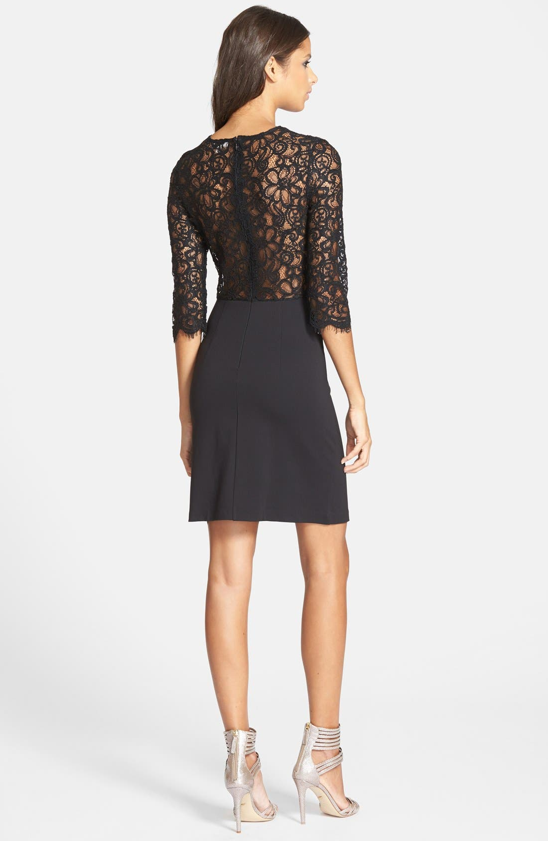 Alternate Image 2  - BB Dakota 'Chevis' Lace & Ponte Sheath Dress