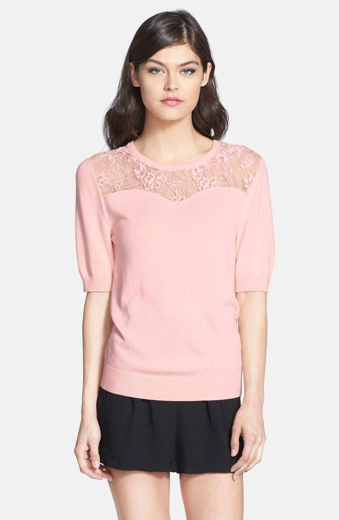 Alternate Image 1 Selected - Chelsea28 Lace Yoke Sweater