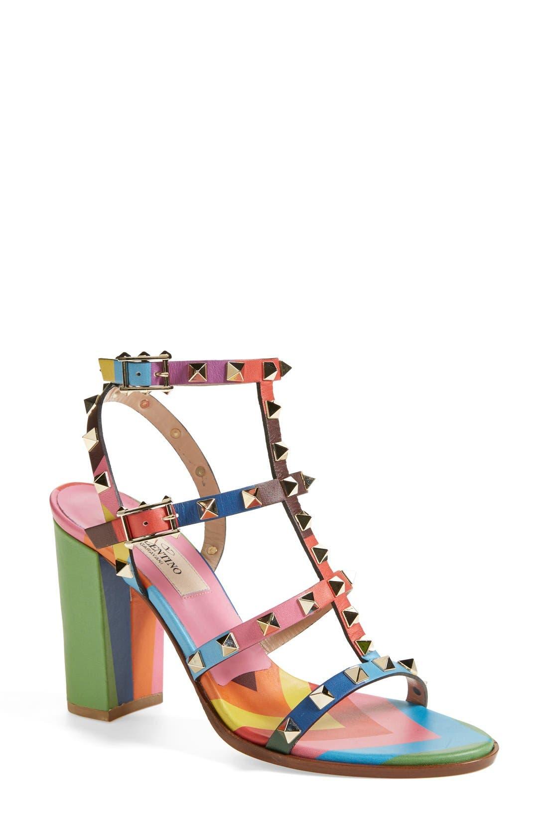 Main Image - Valentino 'Rockstud' T-Strap Sandal (Women)