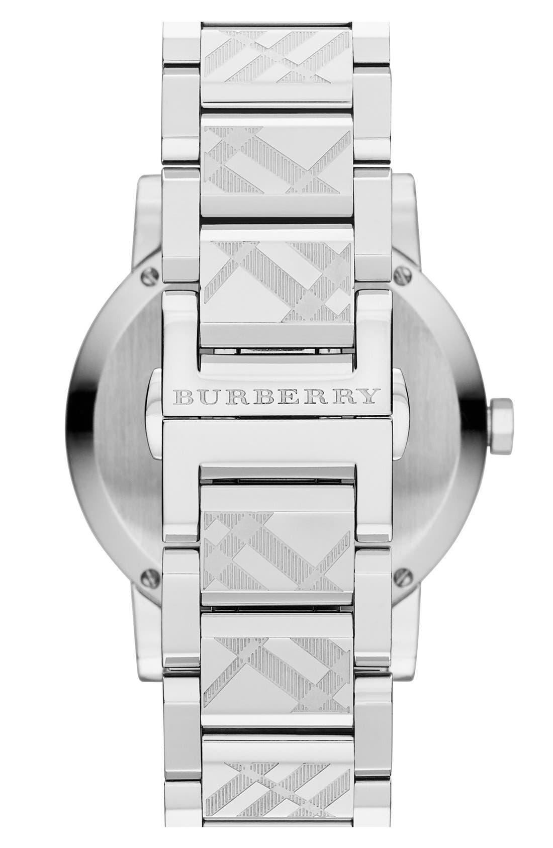 Alternate Image 2  - Burberry Check Stamped Bracelet Watch, 38mm