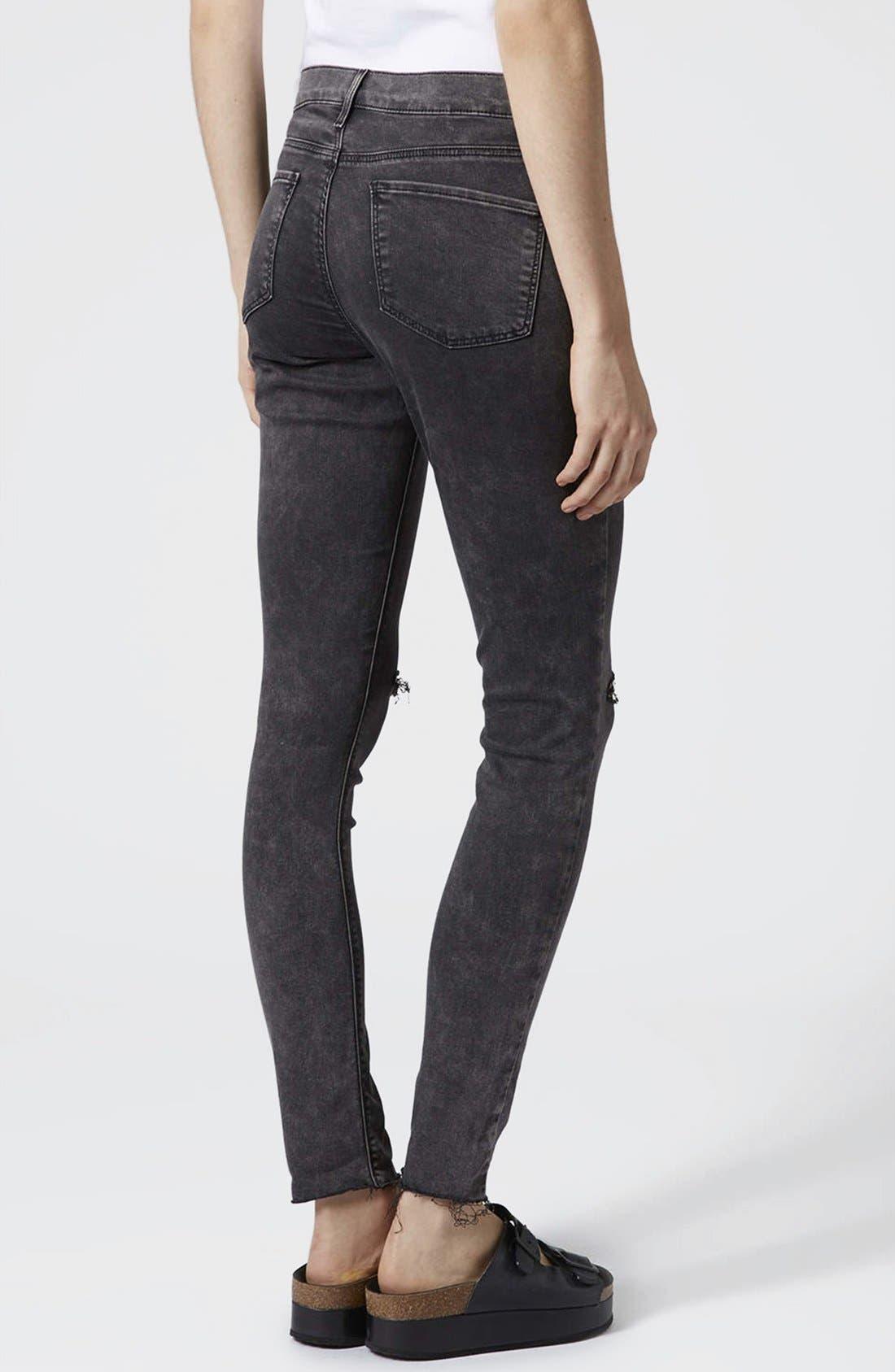 Alternate Image 2  - Topshop Moto 'Leigh' Distressed Skinny Jeans (Black)