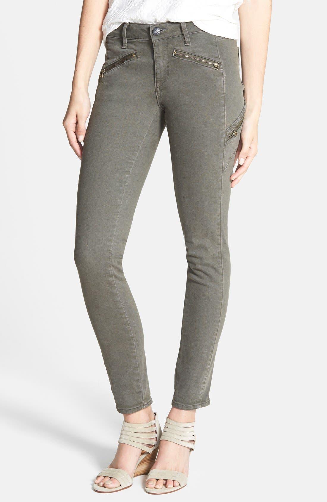 Main Image - Treasure&Bond Zip Skinny Jeans (Olive Tarmac)