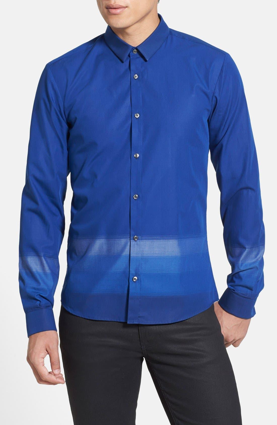 Main Image - HUGO 'Ero' Extra Trim Fit Ombré Stripe Sport Shirt