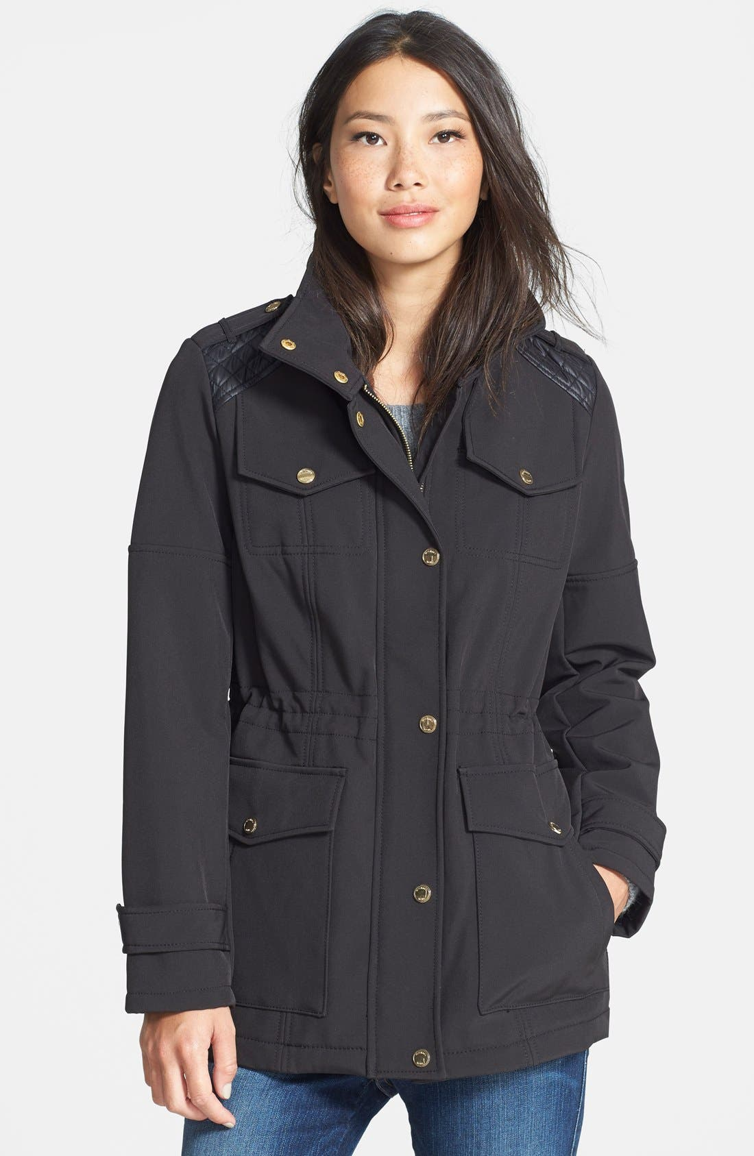 Alternate Image 1 Selected - MICHAEL Michael Kors Faux Leather Detail Anorak with Stowaway Hood