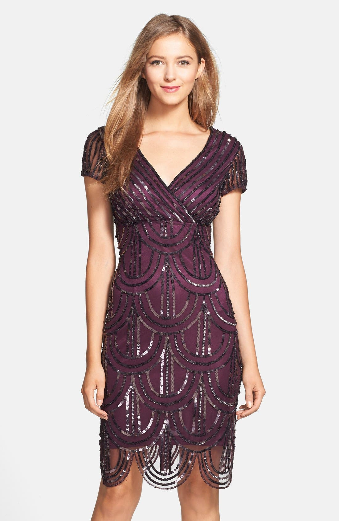 Main Image - Marina Sequin Surplice Sheath Dress
