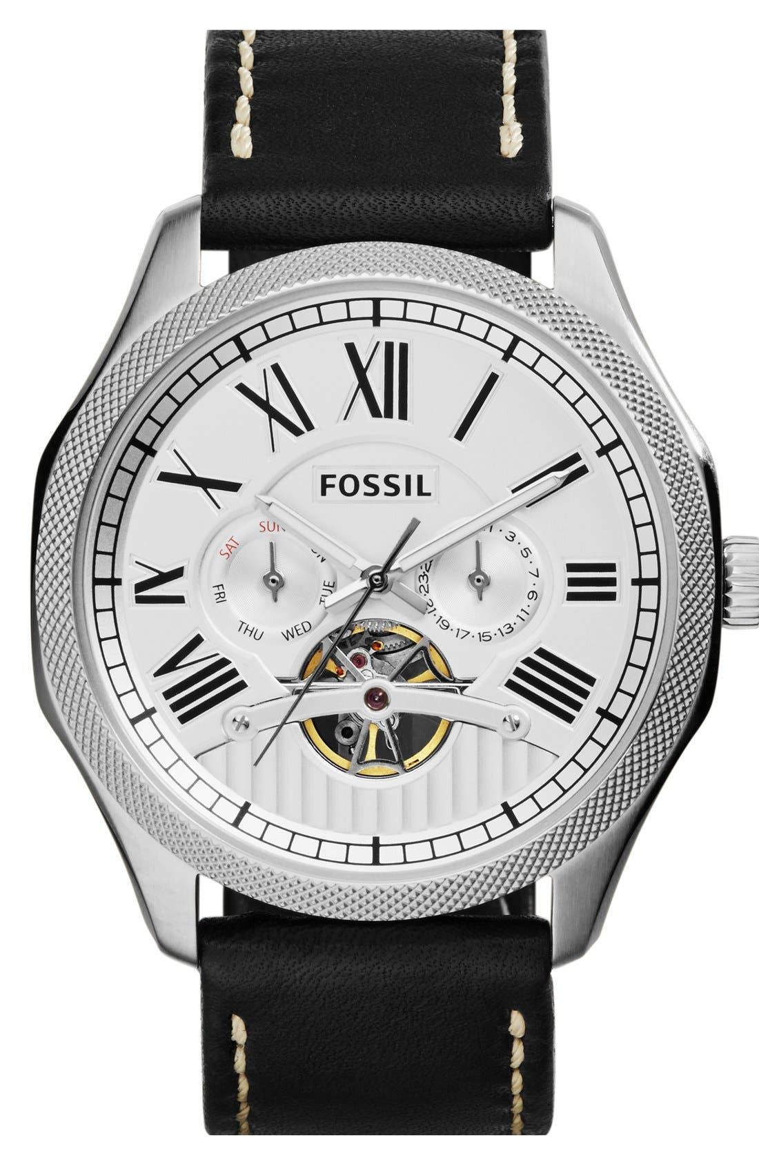 Main Image - Fossil 'Foreman' Automatic Leather Strap Watch, 47mm