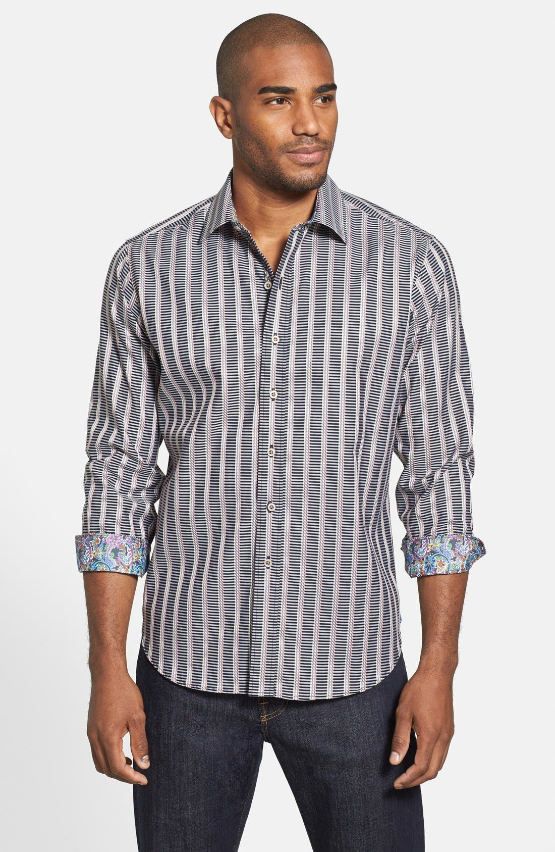 Alternate Image 1 Selected - Robert Graham 'Wesley' Classic Fit Stripe Sport Shirt