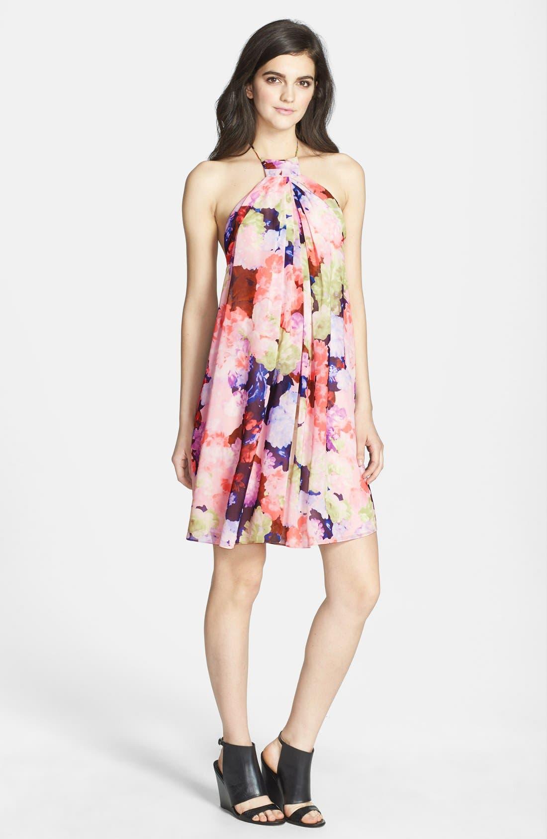 Alternate Image 1 Selected - 1.STATE Floral Print Halter Dress
