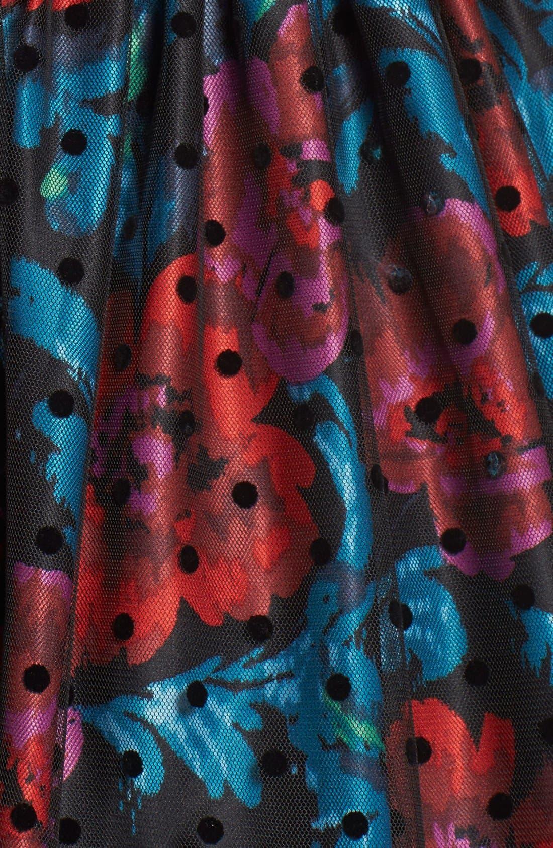 Alternate Image 4  - Eliza J Belted Mixed Media Fit & Flare Dress