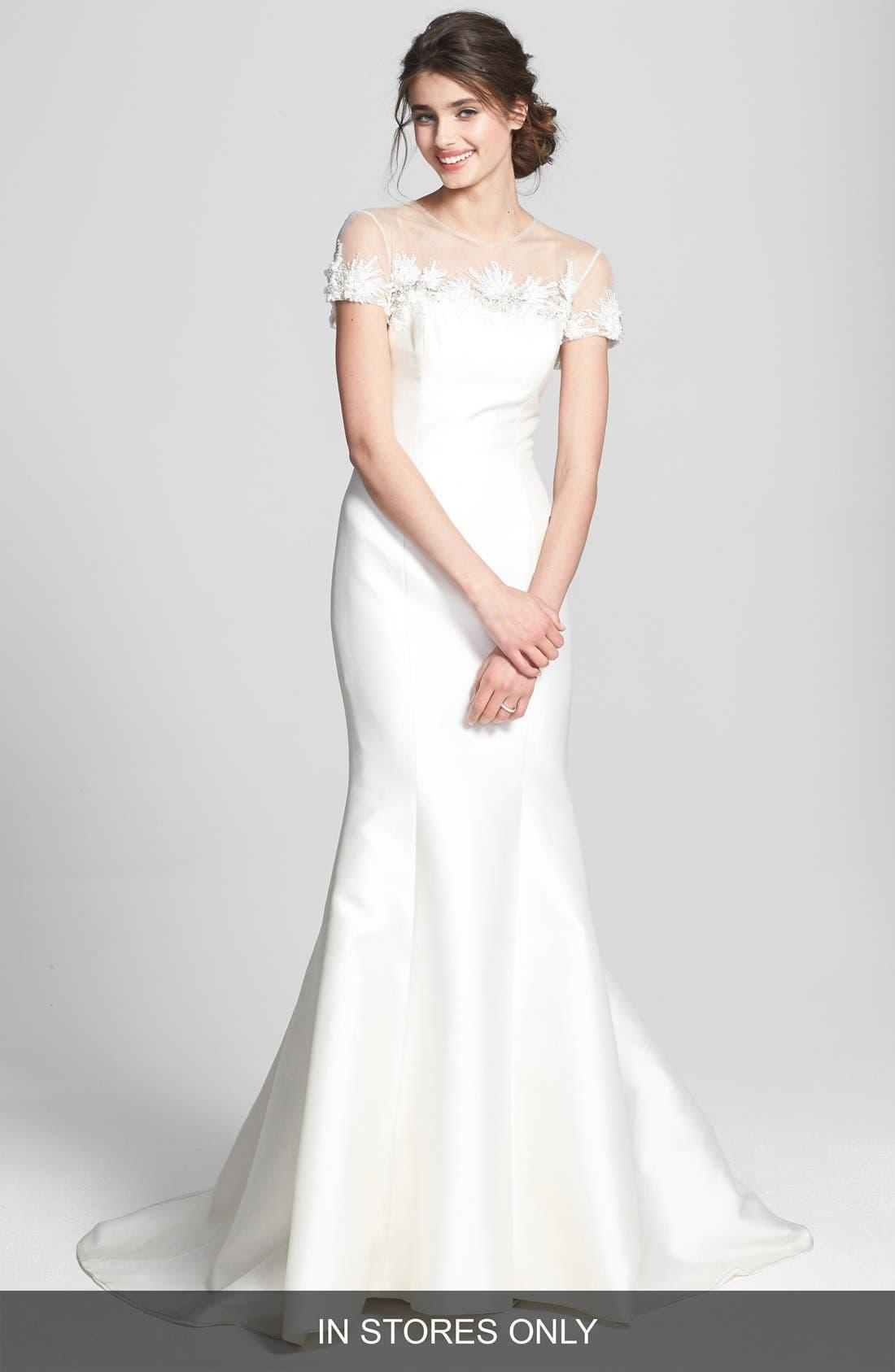 Alternate Image 1 Selected - Badgley Mischka Bridal 'Audrey' Cap Sleeve Embellished Mermaid Dress (In Stores Only)