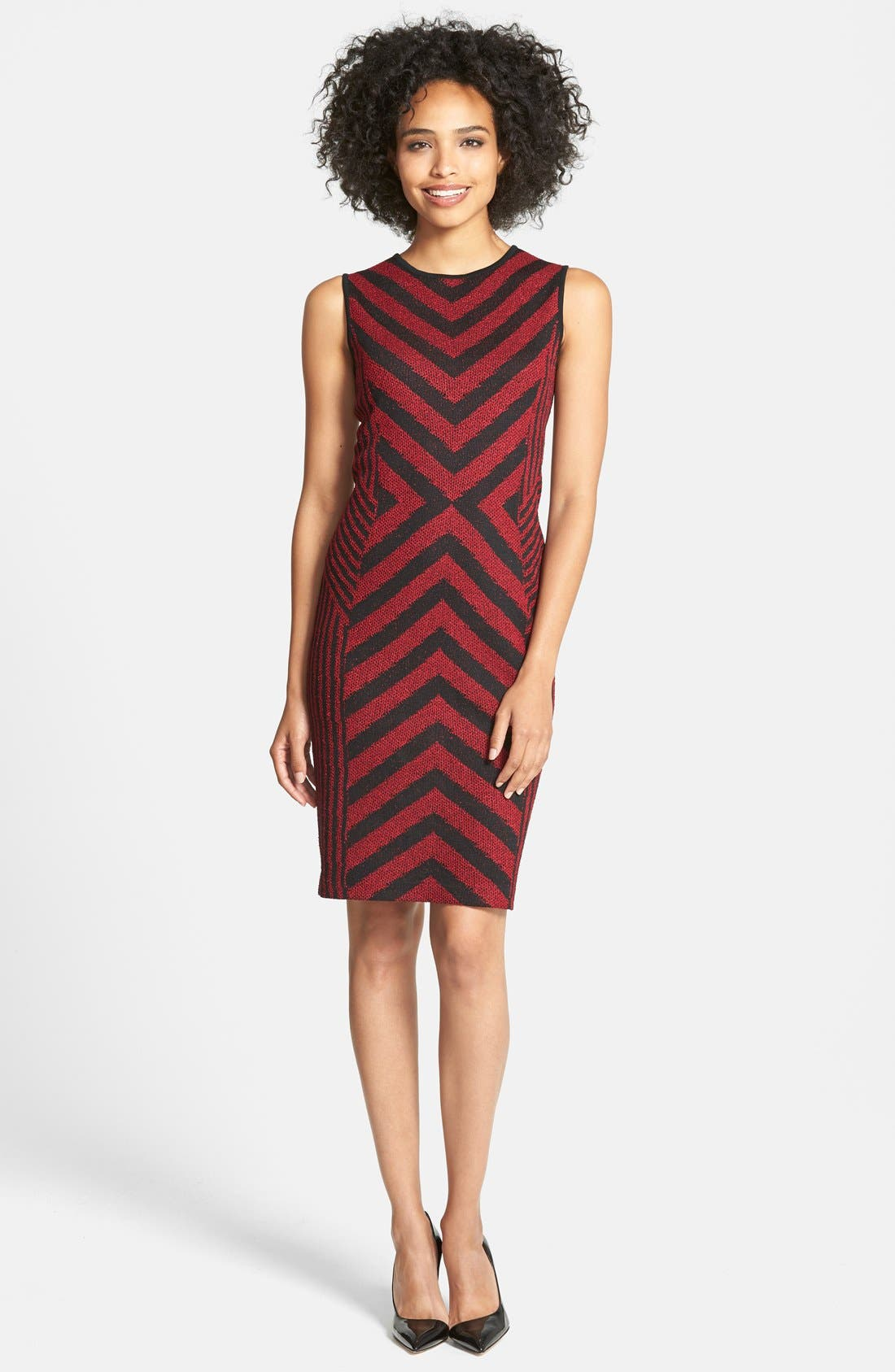 Alternate Image 1 Selected - Ming Wang Chevron Stripe Knit Tank Dress