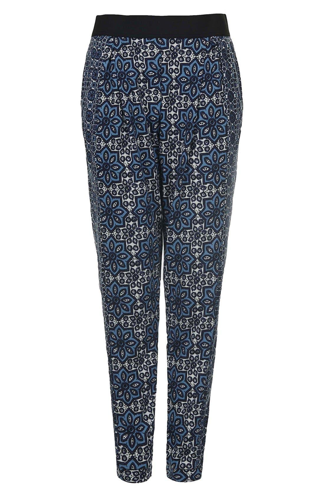 Alternate Image 3  - Topshop Tile Print Jersey Trousers