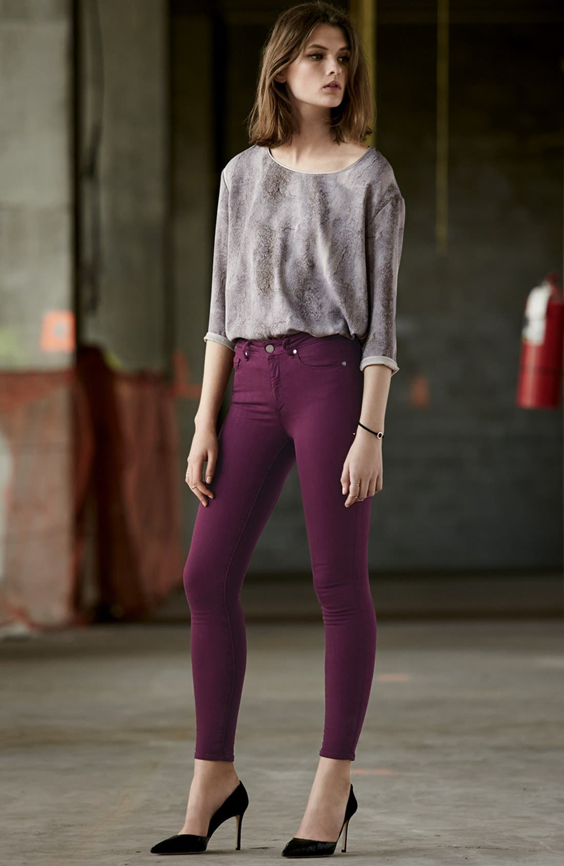 Alternate Image 4  - Paige Denim 'Hoxton' Ultra Skinny Jeans (Passion Plum)
