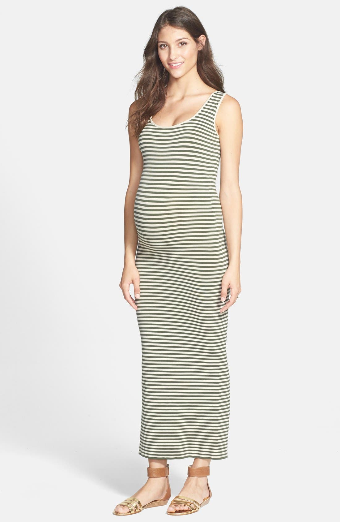 Alternate Image 1 Selected - Tees by Tina Micro Stripe Maternity Dress