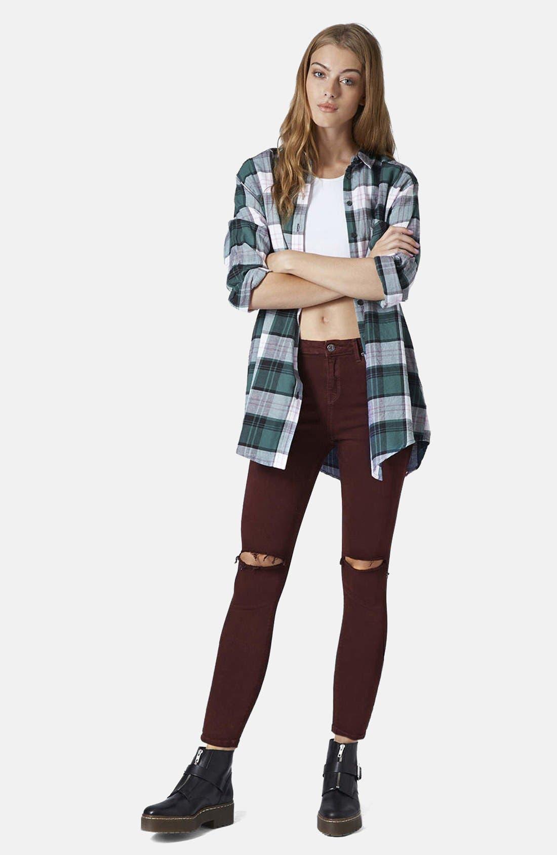 Alternate Image 5  - Topshop Moto 'Jamie' Ripped Jeans (Aubergine)