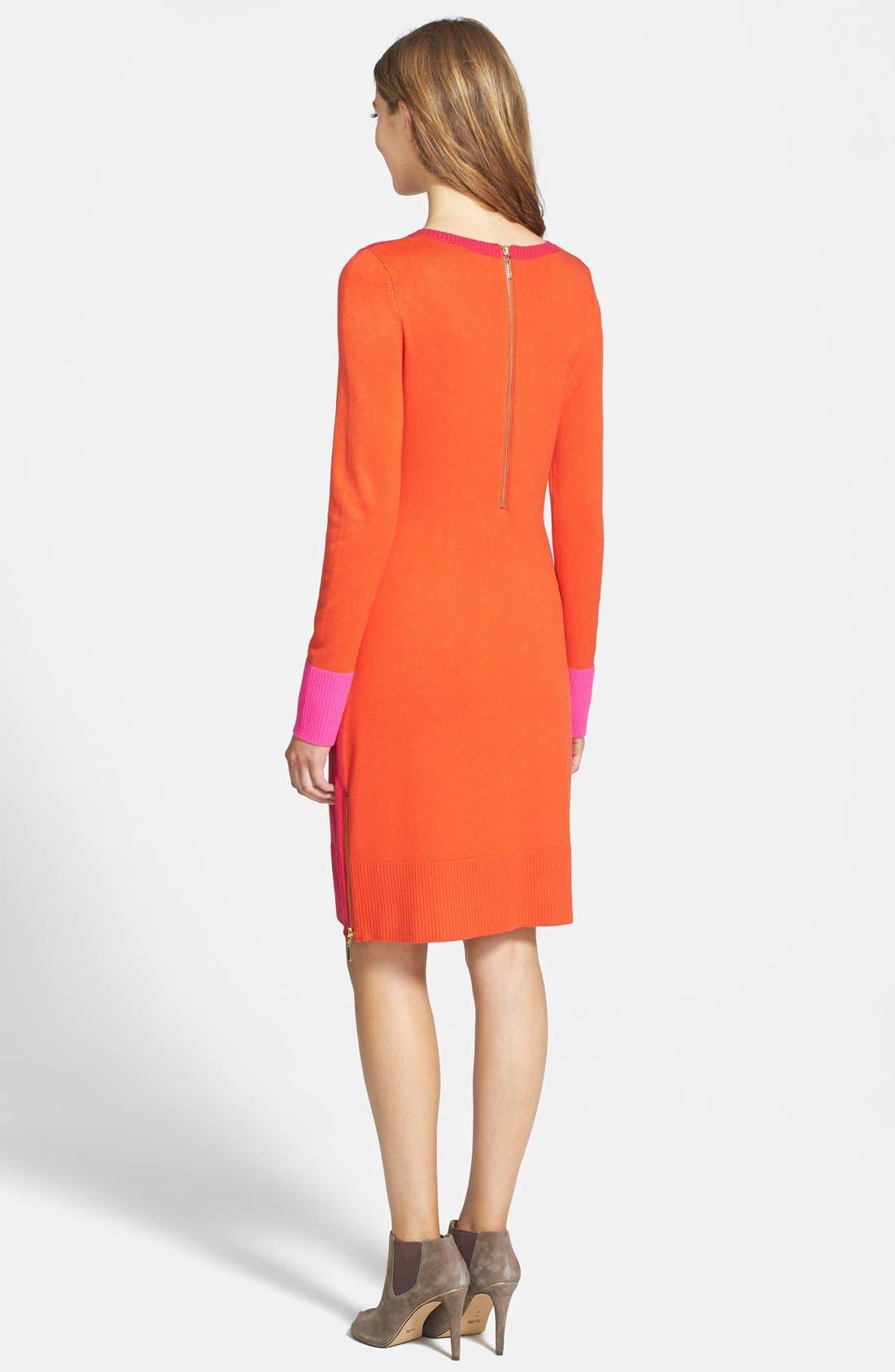 Alternate Image 2  - Eliza J Colorblock Long Sleeve Sweater Dress (Regular & Petite)