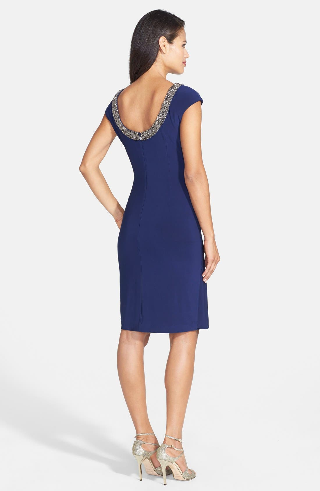 Alternate Image 2  - Alex Evenings Embellished Neck Jersey Sheath Dress (Regular & Petite)