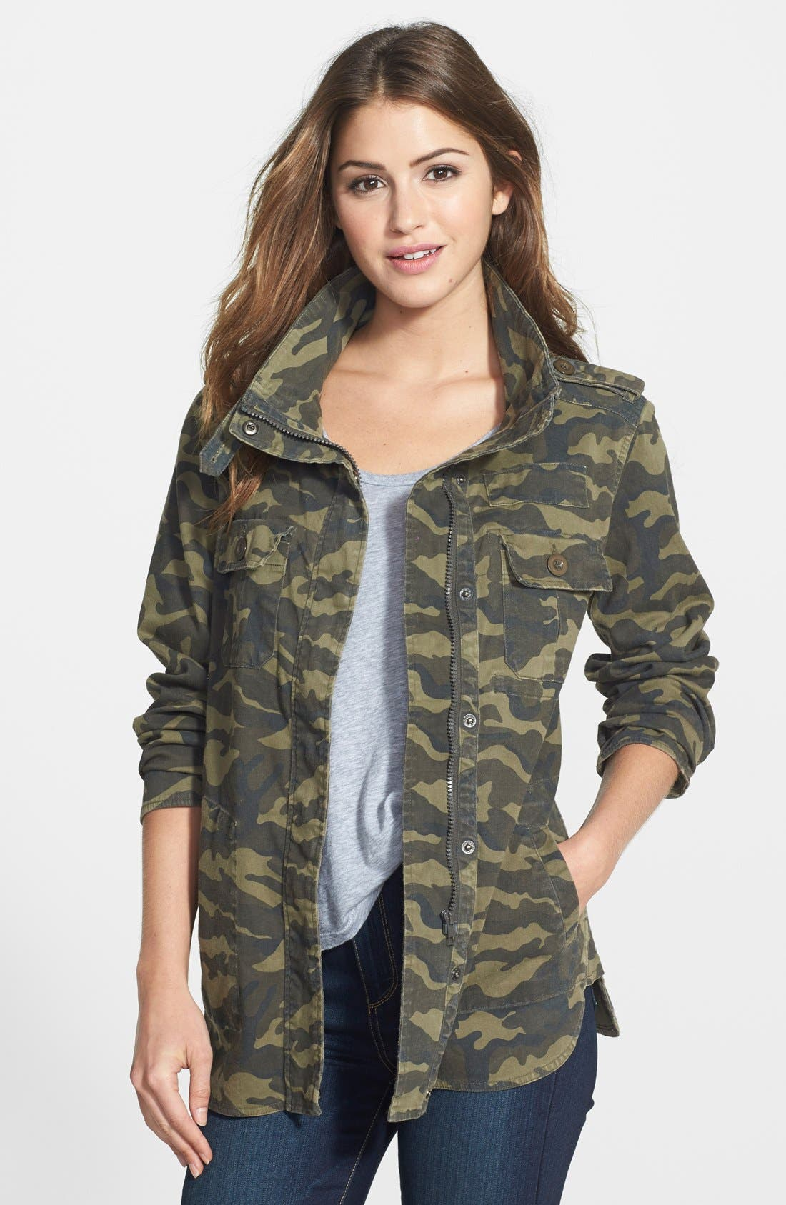 Main Image - Press Lightweight Stretch Cotton Military Jacket (Regular & Petite)