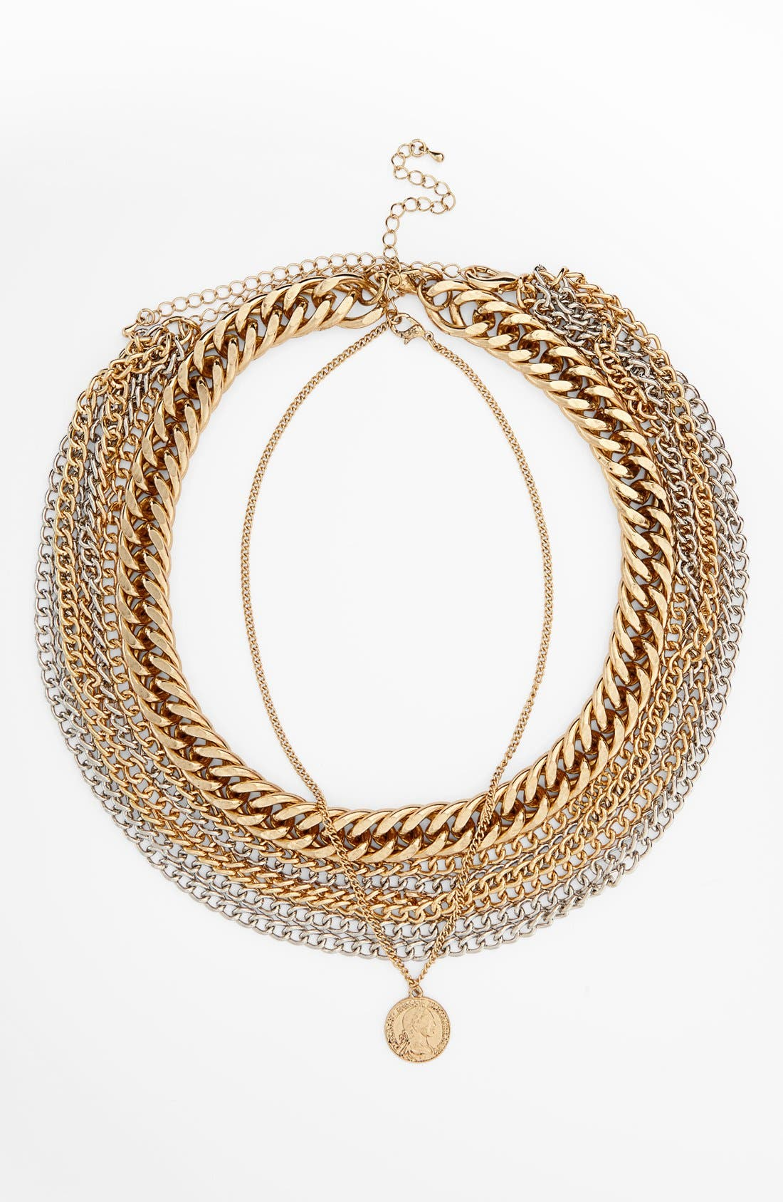 Alternate Image 2  - Topshop Chunky Chain Multi Row Necklace