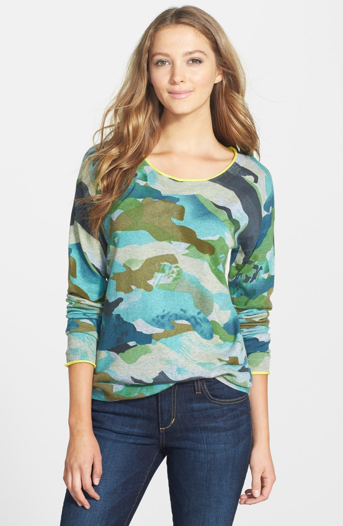 Alternate Image 1 Selected - Two by Vince Camuto Contrast Trim Camo Print Sweater (Regular & Petite)