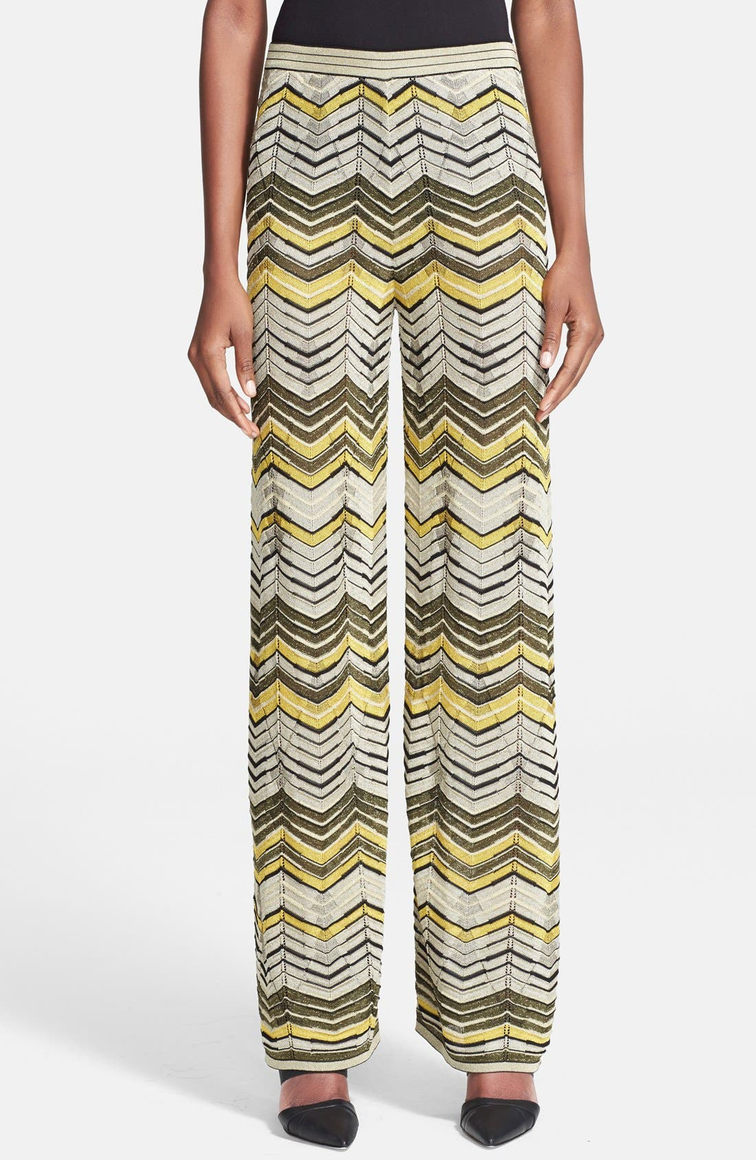 Alternate Image 1 Selected - M Missoni Stripe Pointelle Knit Wide Leg Pants