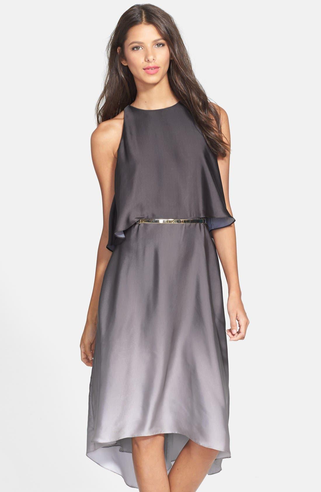 Main Image - Halston Heritage Ruffle Back Ombré Charmeuse Dress