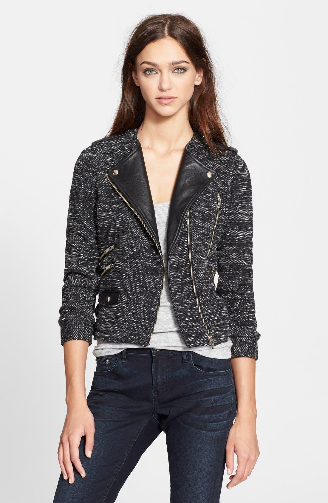 Main Image - The Kooples Leather Trim Tweed Moto Jacket