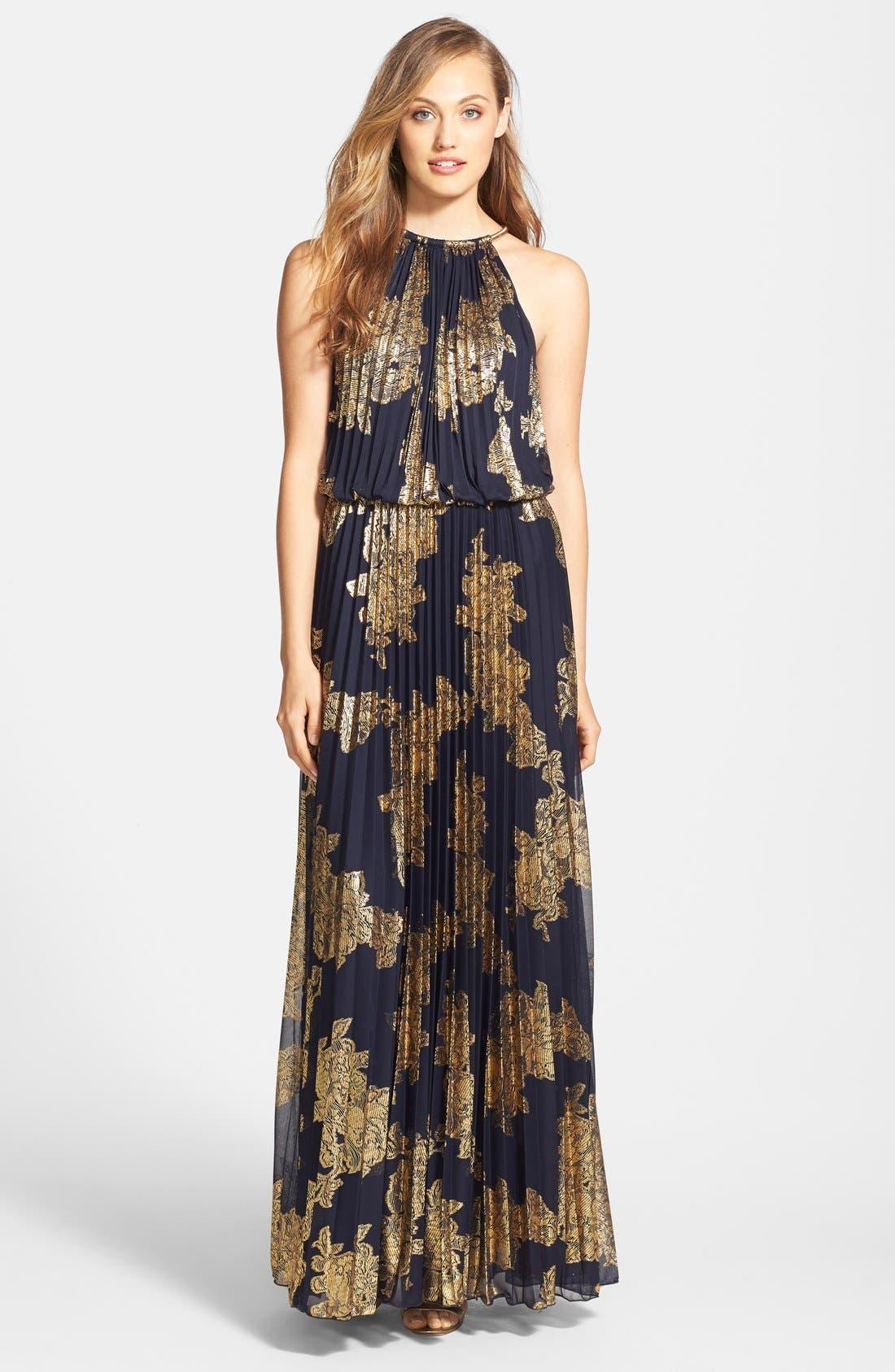 Main Image - Xscape Foiled Blouson Gown