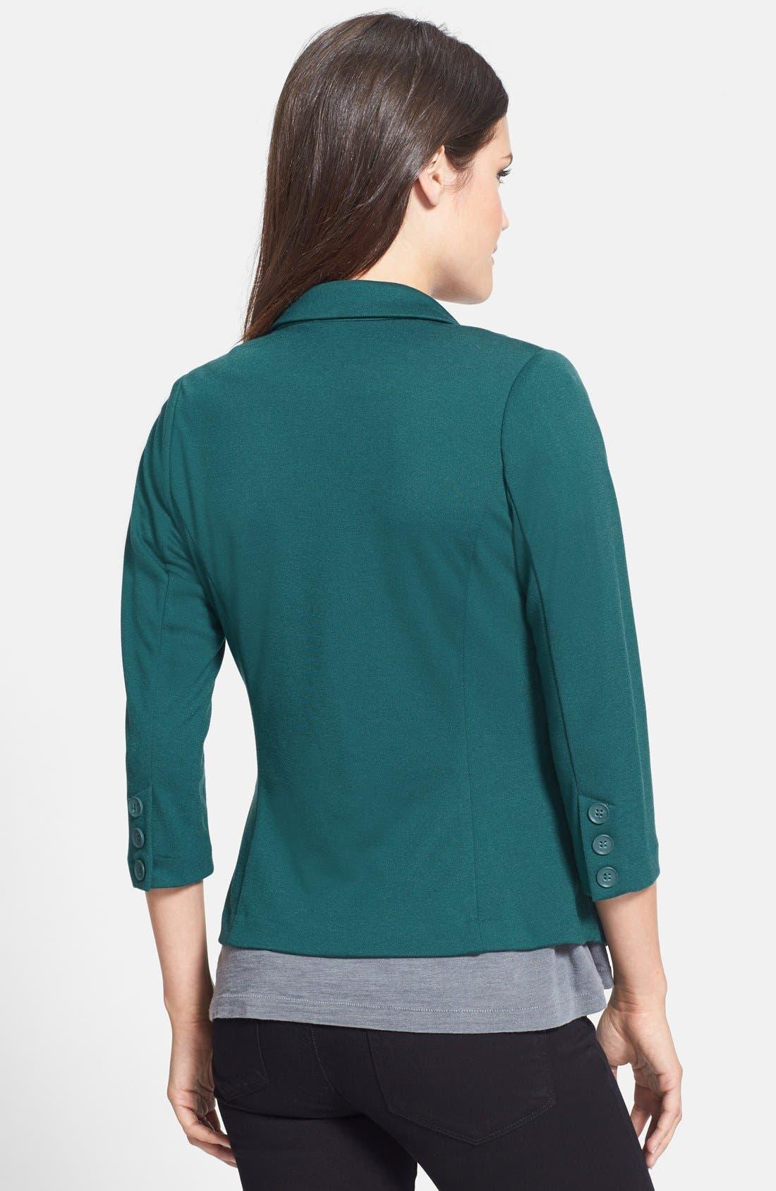 Alternate Image 2  - Olivia Moon Three Quarter Sleeve Knit Blazer