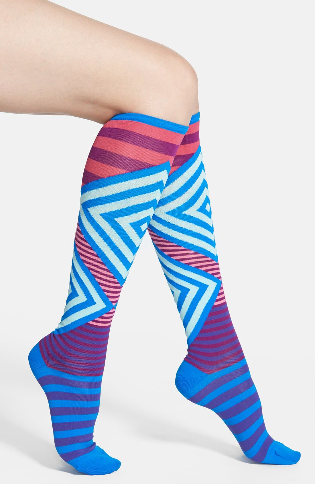 Alternate Image 1 Selected - Hot Sox Mixed Stripe Knee High Socks
